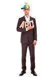 Negocio del ABC del concepto de la escritura del hombre de negocios que entrena Imagenes de archivo