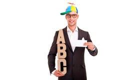 Negocio del ABC del concepto de la escritura del hombre de negocios que entrena Imágenes de archivo libres de regalías