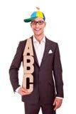 Negocio del ABC del concepto del entrenamiento de la escritura del hombre de negocios Imagen de archivo libre de regalías