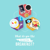 Negocio del desayuno de los iconos Foto de archivo libre de regalías