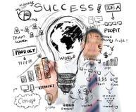 Negocio del dibujo del hombre de negocios por todo el mundo Imagen de archivo