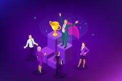 Negocio del ganador y concepto isométricos del logro Éxito de asunto Trofeo grande para los hombres de negocios stock de ilustración