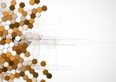 Negocio del hexágono del punto y fondo marrones abstractos de la tecnología Imagen de archivo
