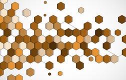 Negocio del hexágono del punto y fondo marrones abstractos de la tecnología Fotografía de archivo libre de regalías