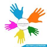 Negocio del icono del vector de Logo Template del cuidado de la mano, símbolo de la caridad stock de ilustración