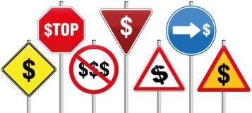 Negocio del símbolo del dólar de las señales de tráfico Imagen de archivo libre de regalías