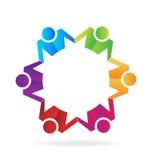 Negocio del trabajo en equipo que lleva a cabo el logotipo de las manos stock de ilustración