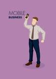 Negocio del vector de Holding Mobile Phone del hombre de negocios de la historieta stock de ilustración