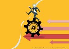 Negocio del vector para las ideas La trayectoria al éxito en la competencia con un contragolpe, diseño plano de las flechas Fotografía de archivo