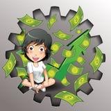 Negocio del vector y juego del dinero stock de ilustración