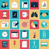 Negocio e iconos planos de la oficina fijados Imágenes de archivo libres de regalías