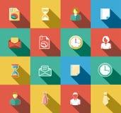 Negocio e iconos planos de la oficina fijados Imagenes de archivo
