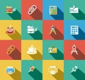 Negocio e iconos planos de la oficina fijados Imagen de archivo