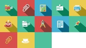 Negocio e iconos planos de la oficina fijados 4K ilustración del vector