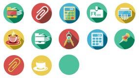 Negocio e iconos planos de la oficina fijados 4K stock de ilustración