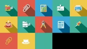 Negocio e iconos planos de la oficina fijados 4K Alpha Channel libre illustration