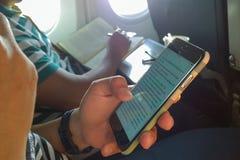 Negocio en el aeroplano Foto de archivo