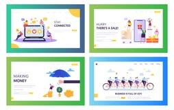Negocio en línea acertado Team Concept Landing Page Set Gente que charla y hacer venta en la aplicación móvil de la tienda en lín stock de ilustración
