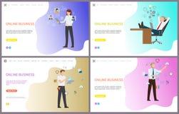 Negocio en línea, Boss Relaxing en el lugar de trabajo ilustración del vector