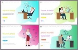 Negocio en línea, hombre de negocios Talking en Internet ilustración del vector