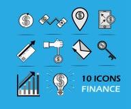 negocio fijado 10 iconos de las finanzas ilustración del vector
