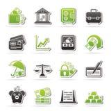 Negocio, finanzas e iconos del banco Foto de archivo libre de regalías