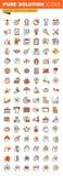 Negocio, finanzas y línea fina de comercialización colección plana de los iconos del web del diseño ilustración del vector