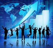 Negocio global que celebra concepto del crecimiento de los datos financieros Imagenes de archivo