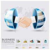Negocio global y apretón de manos financiero Infographic Imágenes de archivo libres de regalías
