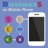 Negocio gráfico de la información en el teléfono móvil Fotografía de archivo