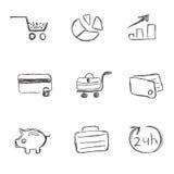 Negocio, icono, sistema, bosquejo, dibujo de la mano, vector Fotografía de archivo libre de regalías