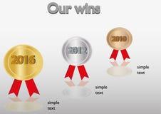 Negocio infographic con las medallas Imagen de archivo libre de regalías