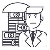 Negocio, línea icono, muestra, ejemplo del vector del seguro del dinero en el fondo, movimientos editable Fotografía de archivo