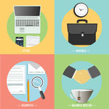 Negocio, oficina e iconos de los artículos del márketing ilustración del vector