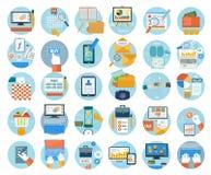 Negocio, oficina e iconos de los artículos del márketing Fotos de archivo