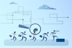 Negocio Person Candidate People Group de la cosecha de la lupa del enfoque del reclutamiento stock de ilustración