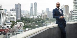Negocio Person Standing Balcony Concept fotografía de archivo