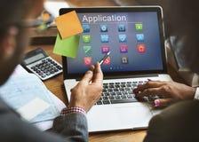 Negocio que deposita concepto en línea de la transacción financiera del pago foto de archivo libre de regalías