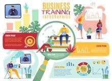 Negocio que entrena a Infographics hombres de negocios que emplean revisando los curriculums vitae que entrenan a la historieta d stock de ilustración
