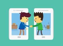 Negocio que trata por smartphone Fotografía de archivo libre de regalías