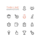 Negocio, símbolos de las finanzas - línea gruesa iconos del diseño fijados Fotografía de archivo libre de regalías