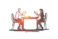 Negocio, socio, oficina, tabla, haciendo frente a concepto Vector aislado dibujado mano stock de ilustración