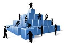 Negocio Team People Silhouettes Building Blocks stock de ilustración