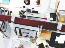 Negocio Team Working Busy Workplace Concept Fotografía de archivo libre de regalías