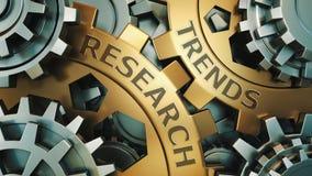 Negocio, tecnología Concepto de la investigación de las tendencias Oro y ejemplo de plata del fondo de la rueda de engranaje 3d r imágenes de archivo libres de regalías