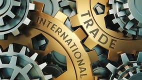 Negocio, tecnología Concepto del comercio internacional Oro y ejemplo de plata del fondo de la rueda de engranaje ilustración 3D stock de ilustración