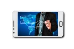 Negocio a través del teléfono móvil de la pantalla Imagen de archivo libre de regalías