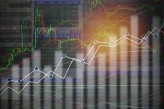 Negocio y fondo financiero: Mercado de acción o comercio de las divisas foto de archivo