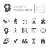 Negocio y iconos relacionados de comercialización stock de ilustración