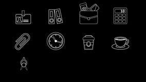 Negocio y línea iconos de la oficina almacen de video